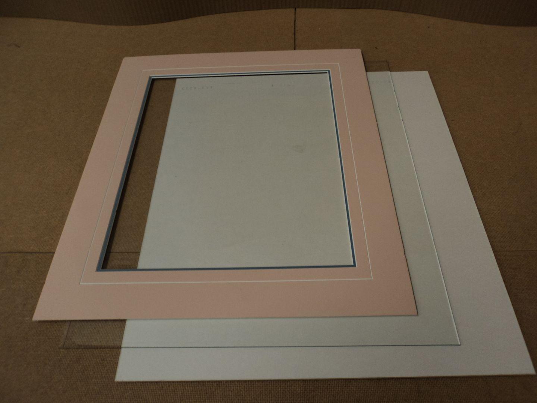 110912-244d Standard Double Matt/Glass/Backing 17in W x 19 1/2in L Rose/Blue