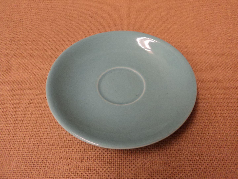 hc4042 111012-568f Sunset Pottery Tea Cup Saucer 6 1/2in Diameter x 1in H Aqua Green Ceramic