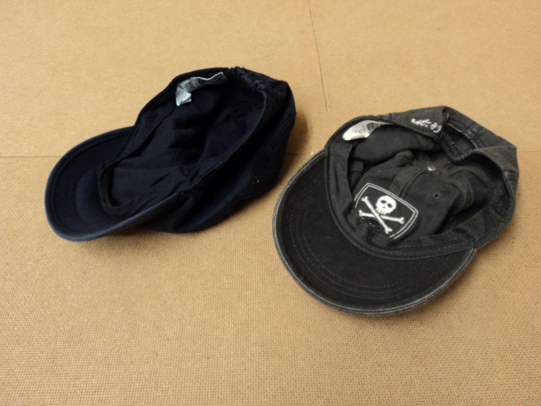 111012-444f Place Hats Baseball Lot Of 2 Cotton 100% Male Kids 2-4 3T Blacks Solid
