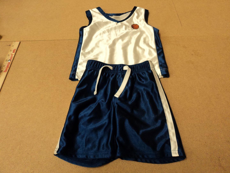 111012-478f Gymboree Shorts & Shirt Basketball Uniform Polyester 100% Male Kids 1-2 2T Blues