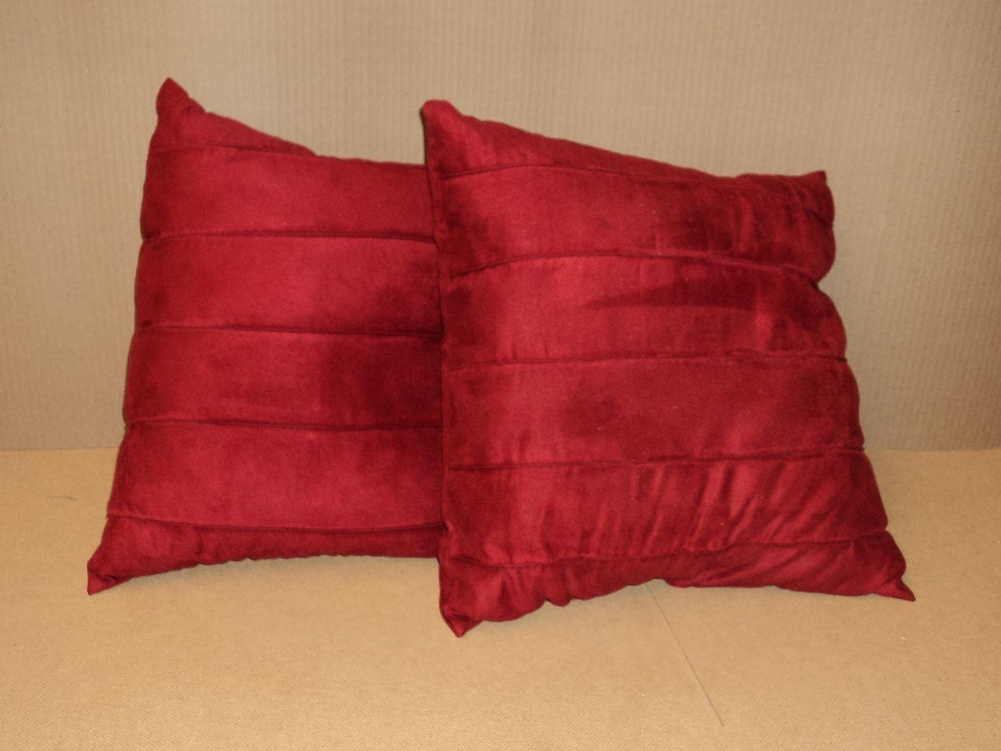 lm7410 111712-102n Designer Pillows 17in L x 17in W x 7in D Red Solid Set of 2 Ultrasuede