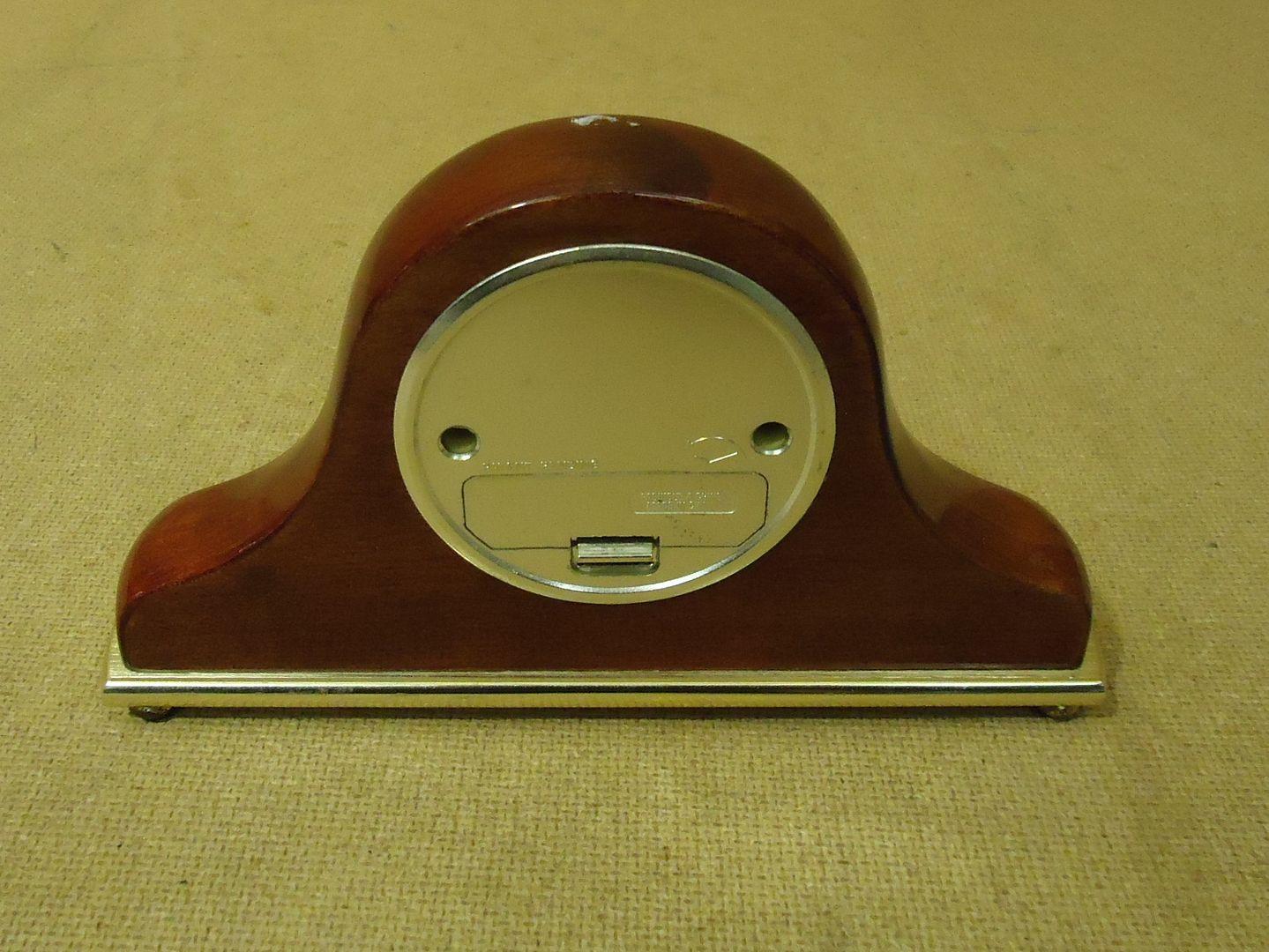 lm7410 111712-136n Danbury Fancy Table Clock 8in L x 4 3/4in H x 1 1/2in D Browns/Golds Wood Metal
