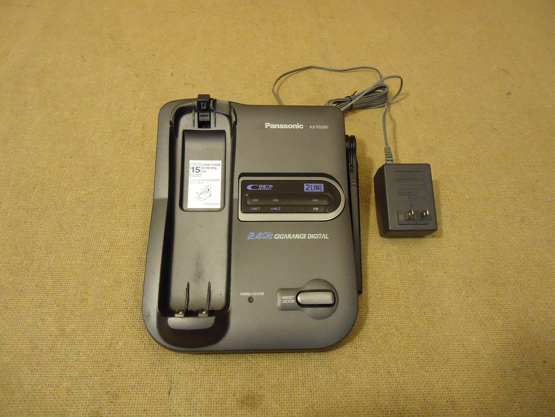 112612-446n Panasonic 2 Line 2.4 GHz Cordless Phone Base Grays KX-TG2267B