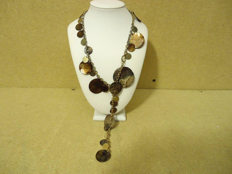 lm7410 112712-626n Designer Fashion Necklace 18in L Drop/Dangle Metal Female Adult Golds/Browns