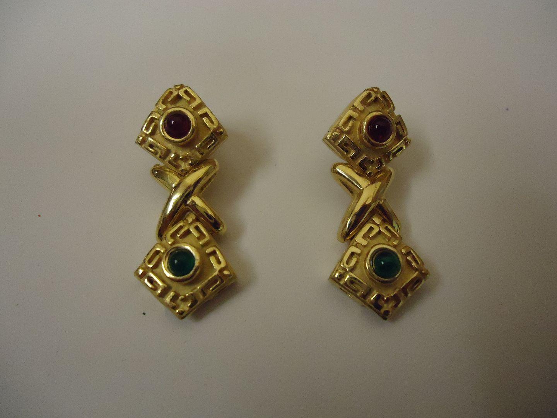 lm7410 120212-834n Designer Fashion Earrings Clip-On Metal Female Adult Gold/Green