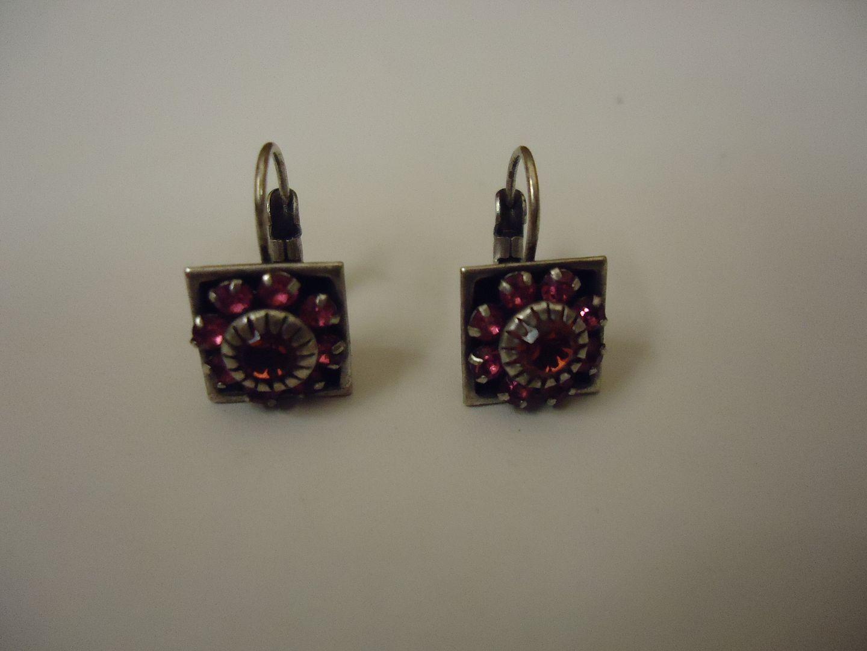 lm7410 120212-844n Designer Fashion Earrings Flower Drop/Dangle Female Adult Silver/Pinks/Black