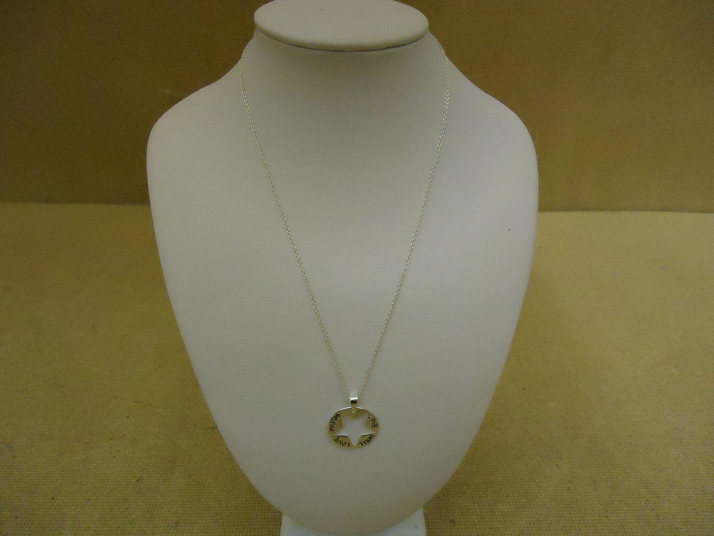 lm7410 120312-168a Designer Fashion Necklace 16in L Love Chain Dangle Metal Female Adult Silver