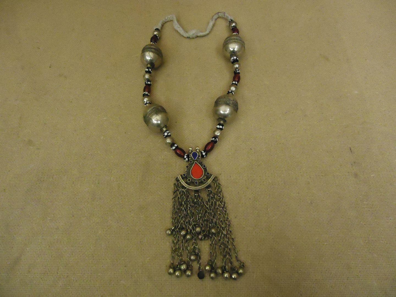 lm7410 120312-182a-V Hand Made Tribal Ethnic Necklace Bells Middle Eastern Vintage Sterling Silver