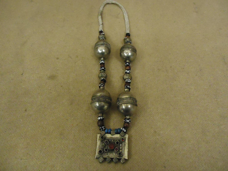 lm7410 120312-184a-V Handcrafted Tribal Ethnic Necklace Bells Middle Eastern Vintage Sterling Silver