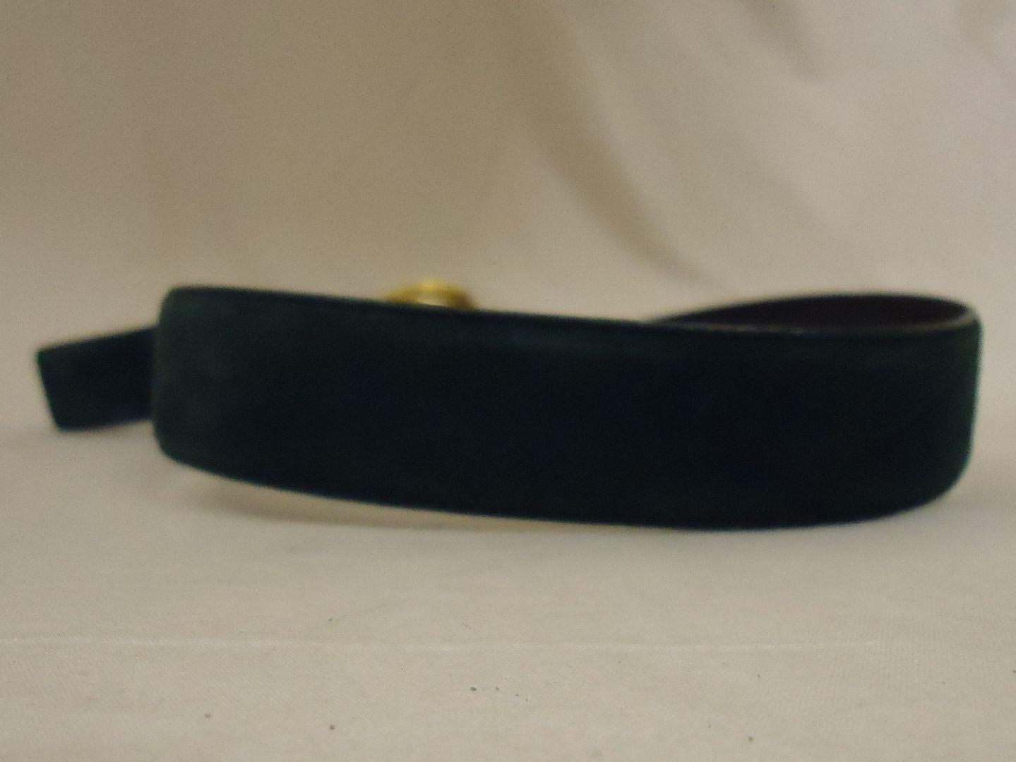 ar7925 100212-246m Designer Belt 26.5in-30.5in Gold Buckle Suede Female Adult M Greens Solid 5082