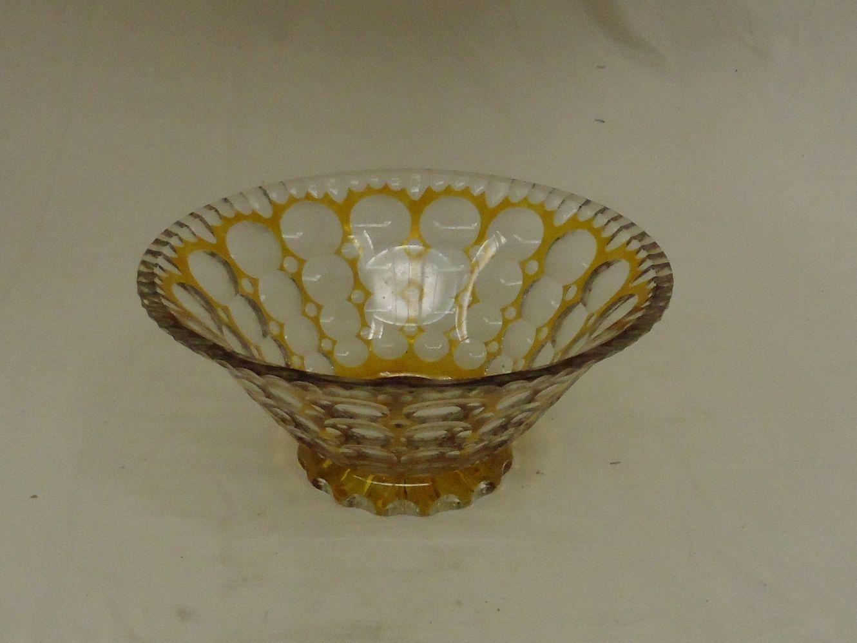 em5188 100212-166m-CV Designer Fruit Bowl 10in x 10in x 4 1/2in Clear/Gold Retro Vintage Glass