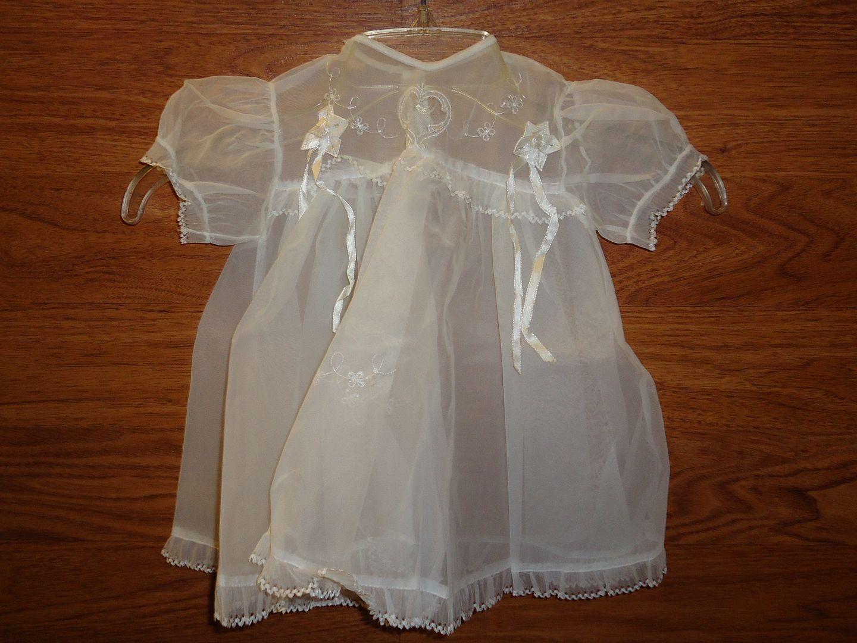 em5188 100212-222m-CV Block & Kuhl Co. Baby Christening Set Vintage Cotton Lace Female Infant White