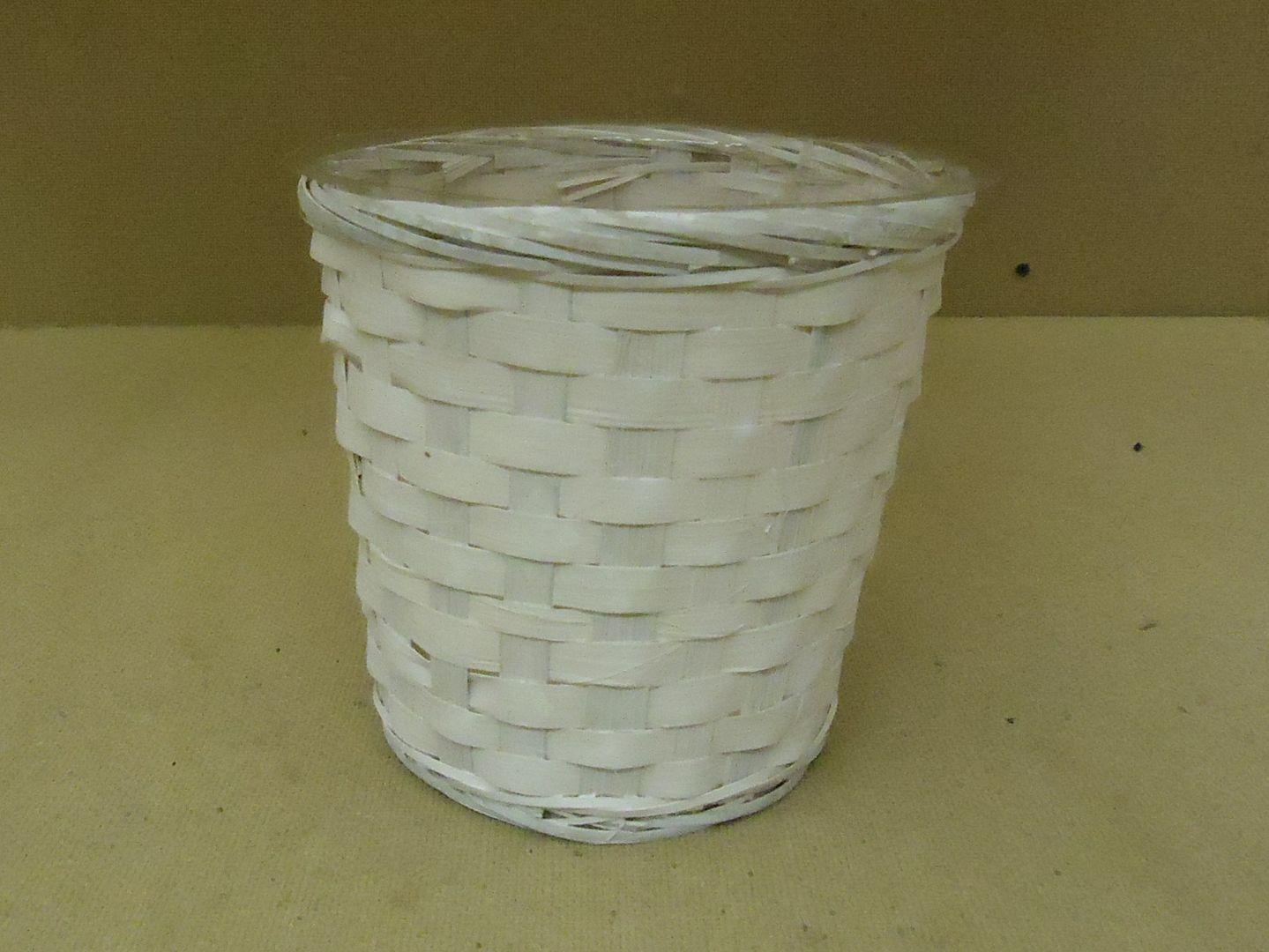 kk9779 010713-906a Designer Pot Container 7in H x 7in Diameter White Plastic Liner Wicker