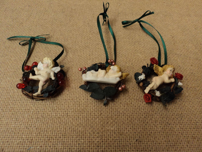 ch3616 121312-760d Handcrafted Miniature Angel Wreaths Multi-Color Cherub Wood Plastic
