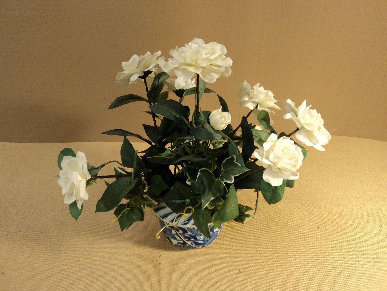 ch3616 121312-786d Handcrafted Rose Flower Arrangement In Pot Ceramic